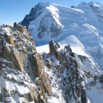 Arête des Cosmiques with the background of Mont Blanc Massif