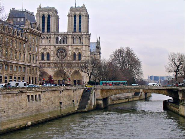 Katedra Notre Dame w Paryżu - widok z rzeki - by jadeilyn
