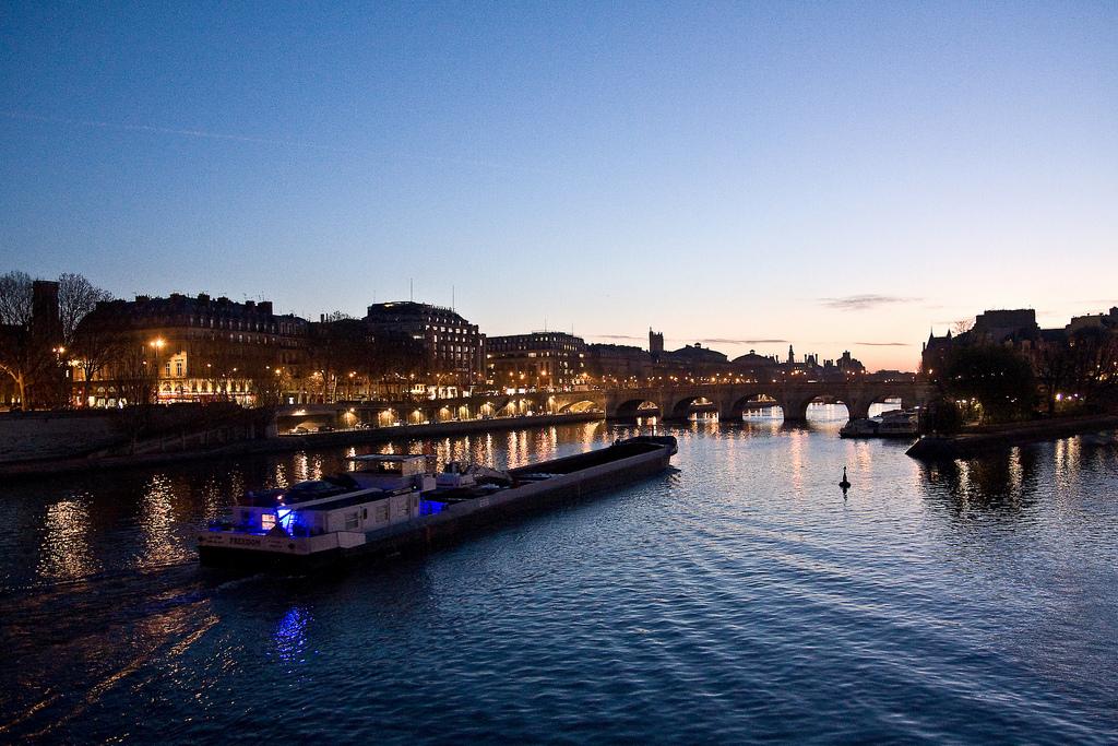 Paryż - Most Pont Neuf na Sekwanie w nocy by jfgornet