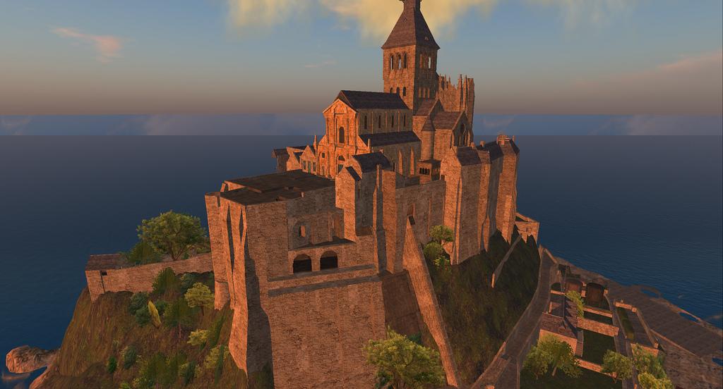 Widok z jednej wieży Mont Saint Michel na drugą by Wyatt Wellman